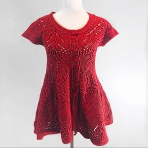 Anthropologie Sparrow | Cable Knit Red Dress M